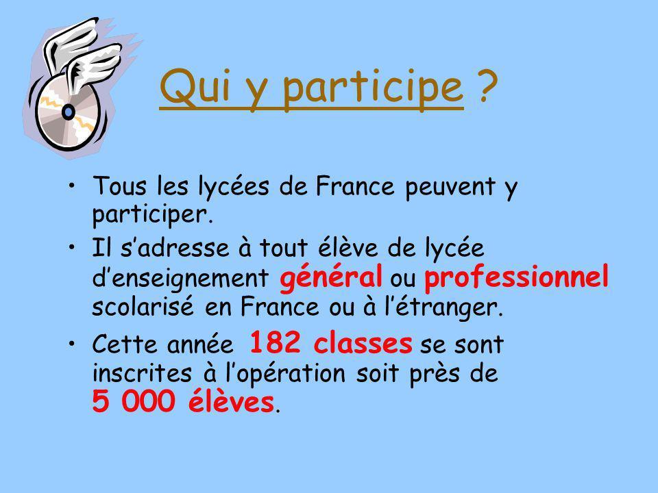 Qui y participe Tous les lycées de France peuvent y participer.