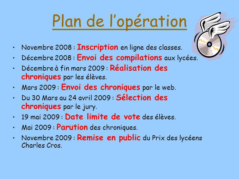Plan de l'opération Novembre 2008 : Inscription en ligne des classes.