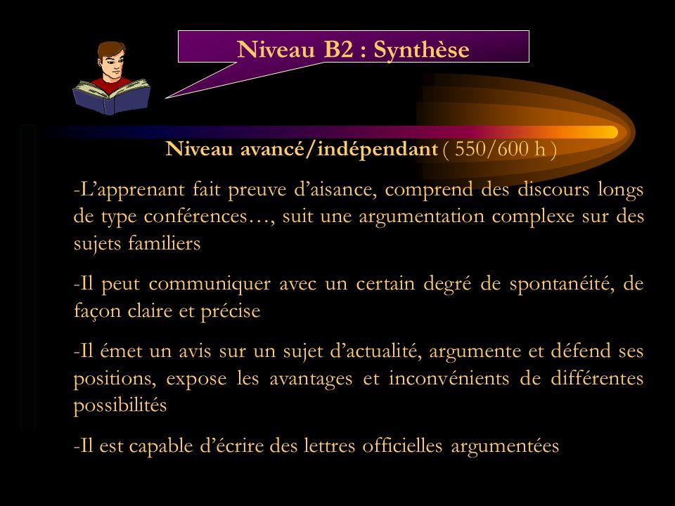 Niveau avancé/indépendant ( 550/600 h )
