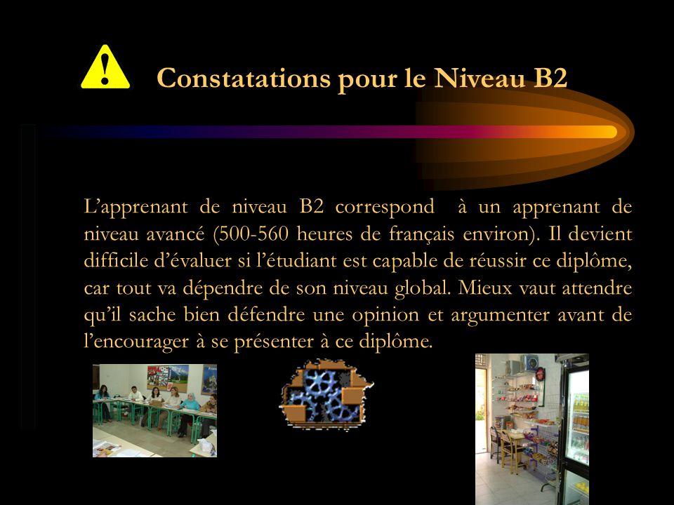 Constatations pour le Niveau B2