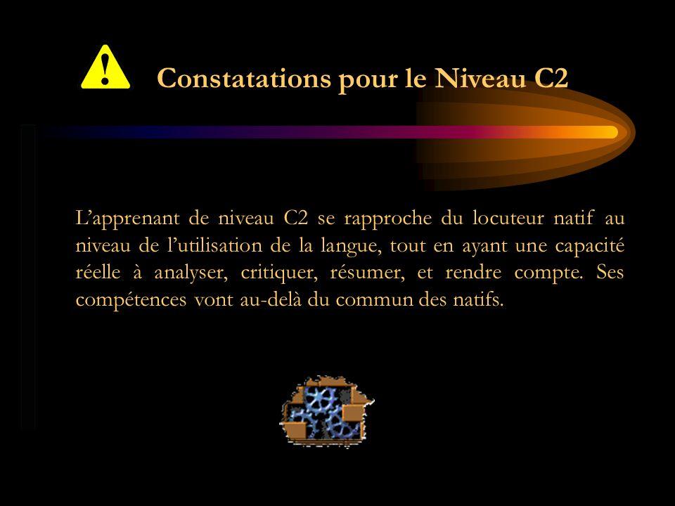 Constatations pour le Niveau C2