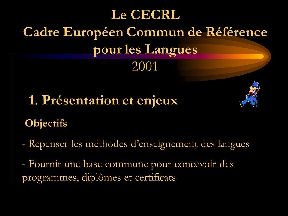 Le CECRL Cadre Européen Commun de Référence pour les Langues 2001