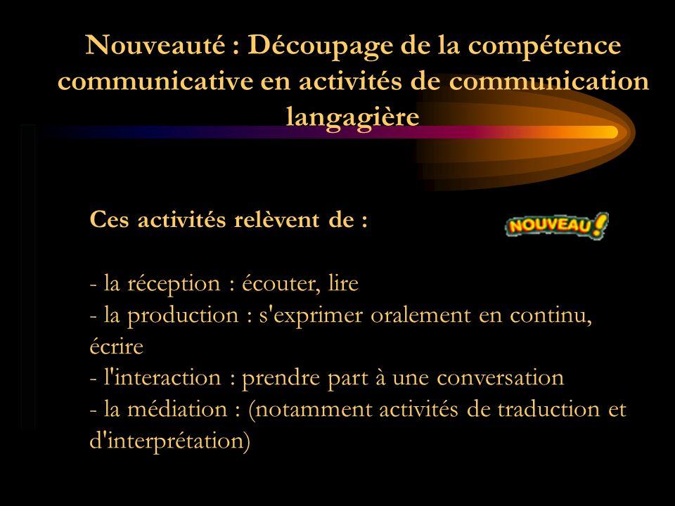 Nouveauté : Découpage de la compétence communicative en activités de communication langagière