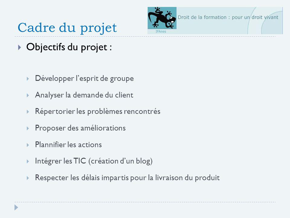 Cadre du projet Objectifs du projet : Développer l'esprit de groupe