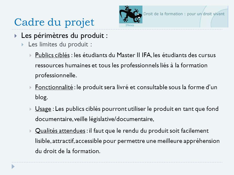 Cadre du projet Les périmètres du produit : Les limites du produit :