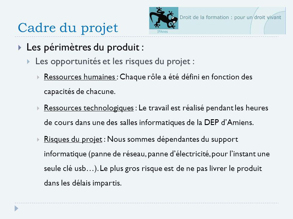 Cadre du projet Les périmètres du produit :