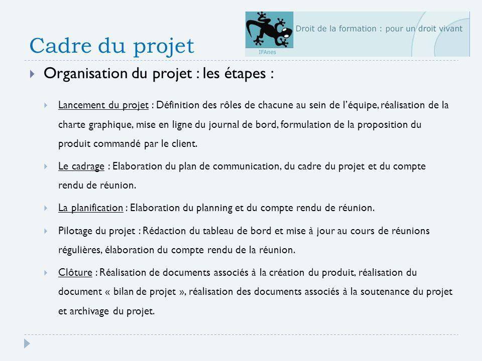 Cadre du projet Organisation du projet : les étapes :