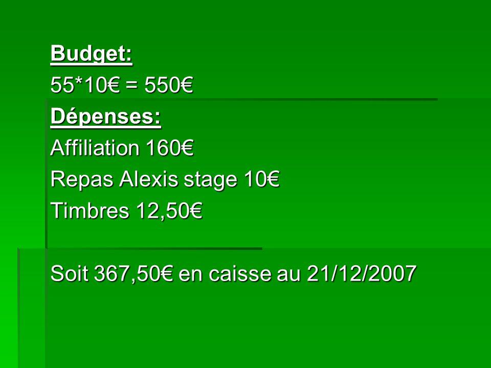 Budget: 55*10€ = 550€ Dépenses: Affiliation 160€ Repas Alexis stage 10€ Timbres 12,50€ Soit 367,50€ en caisse au 21/12/2007.