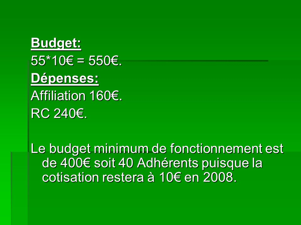Budget: 55*10€ = 550€. Dépenses: Affiliation 160€. RC 240€.
