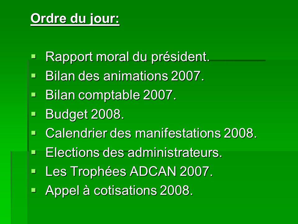 Ordre du jour: Rapport moral du président. Bilan des animations 2007. Bilan comptable 2007. Budget 2008.