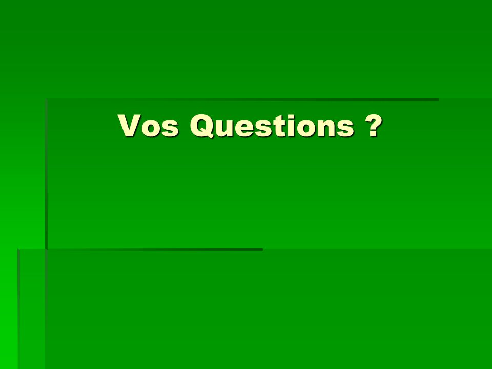 Vos Questions