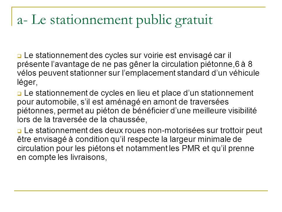a- Le stationnement public gratuit