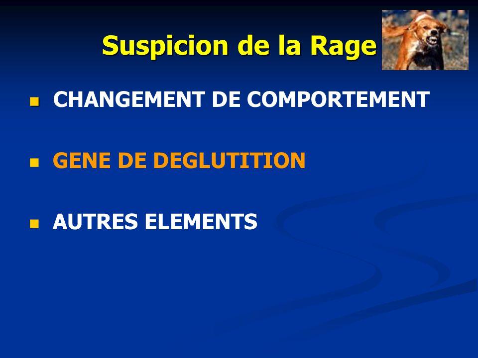 Suspicion de la Rage CHANGEMENT DE COMPORTEMENT GENE DE DEGLUTITION