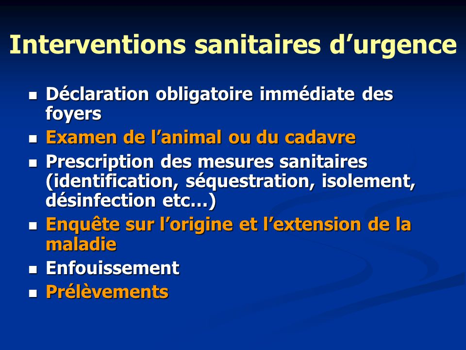 Interventions sanitaires d'urgence