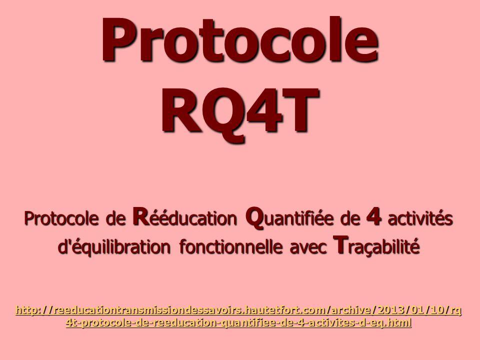 Protocole RQ4T Protocole de Rééducation Quantifiée de 4 activités d équilibration fonctionnelle avec Traçabilité http://reeducationtransmissiondessavoirs.hautetfort.com/archive/2013/01/10/rq4t-protocole-de-reeducation-quantifiee-de-4-activites-d-eq.html