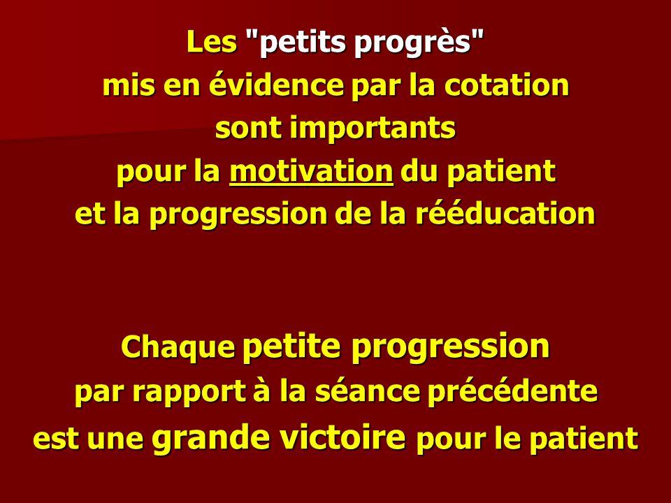 Les petits progrès mis en évidence par la cotation sont importants pour la motivation du patient et la progression de la rééducation Chaque petite progression par rapport à la séance précédente est une grande victoire pour le patient