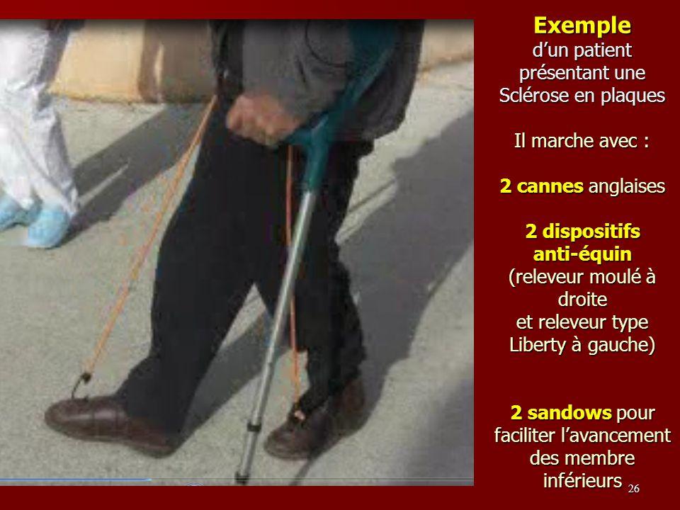 Exemple d'un patient présentant une Sclérose en plaques Il marche avec : 2 cannes anglaises 2 dispositifs anti-équin (releveur moulé à droite et releveur type Liberty à gauche) 2 sandows pour faciliter l'avancement des membre inférieurs
