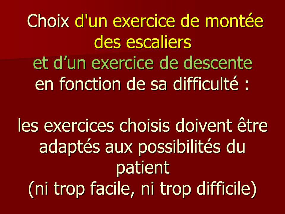 Choix d un exercice de montée des escaliers et d'un exercice de descente en fonction de sa difficulté : les exercices choisis doivent être adaptés aux possibilités du patient (ni trop facile, ni trop difficile)