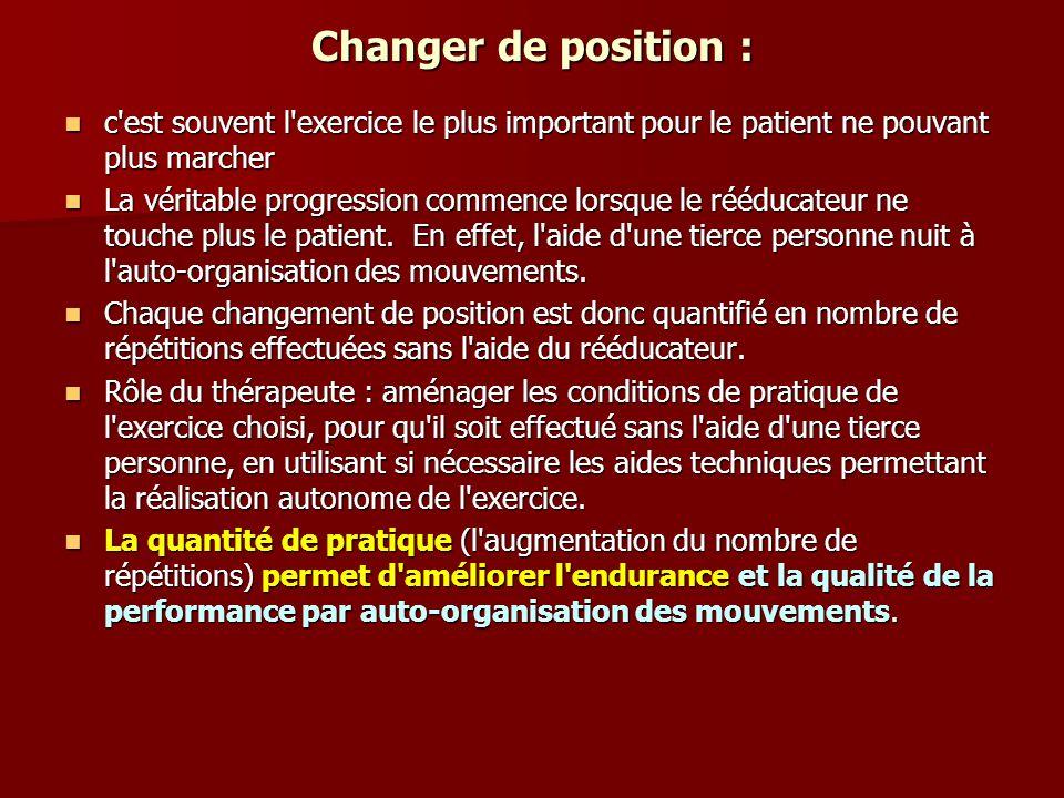 Changer de position : c est souvent l exercice le plus important pour le patient ne pouvant plus marcher.
