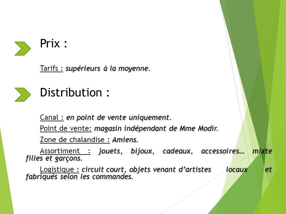 Prix : Distribution : Tarifs : supérieurs à la moyenne.