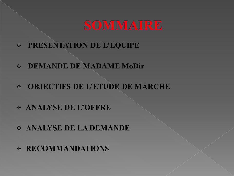 SOMMAIRE PRESENTATION DE L'EQUIPE DEMANDE DE MADAME MoDir
