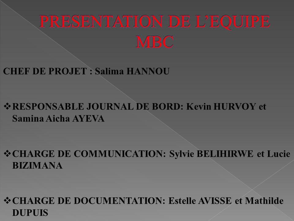 PRESENTATION DE L'EQUIPE MBC