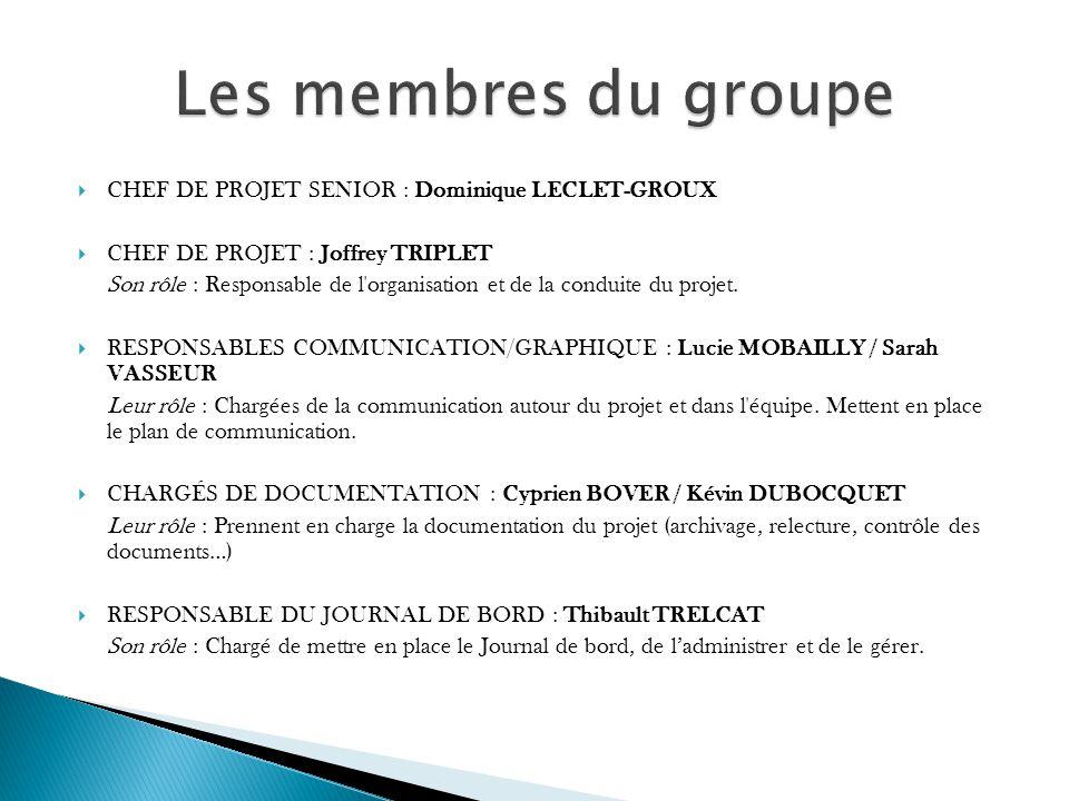 Les membres du groupe CHEF DE PROJET SENIOR : Dominique LECLET-GROUX