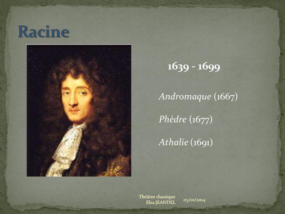 Racine 1639 - 1699 Andromaque (1667) Phèdre (1677) Athalie (1691)
