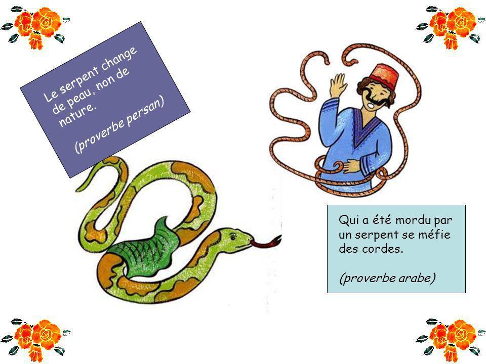 Le serpent change de peau, non de. nature. (proverbe persan) Qui a été mordu par. un serpent se méfie.