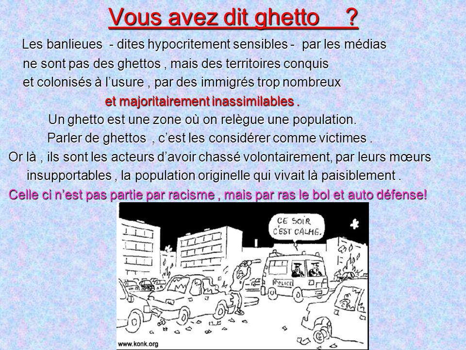 Vous avez dit ghetto Les banlieues - dites hypocritement sensibles - par les médias. ne sont pas des ghettos , mais des territoires conquis.