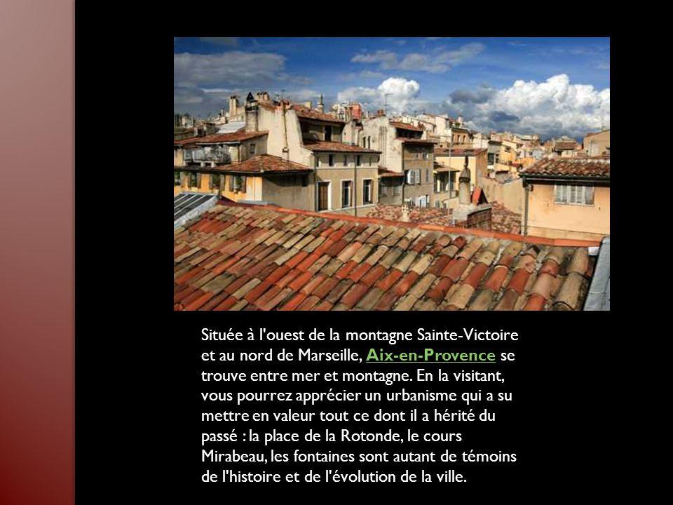 Située à l ouest de la montagne Sainte-Victoire et au nord de Marseille, Aix-en-Provence se trouve entre mer et montagne.
