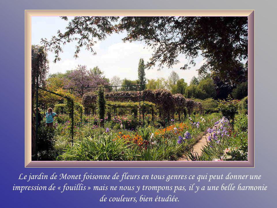 Le jardin de Monet foisonne de fleurs en tous genres ce qui peut donner une impression de « fouillis » mais ne nous y trompons pas, il y a une belle harmonie de couleurs, bien étudiée.
