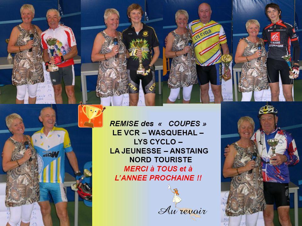 REMISE des « COUPES » LE VCR – WASQUEHAL – LYS CYCLO – LA JEUNESSE – ANSTAING. NORD TOURISTE.