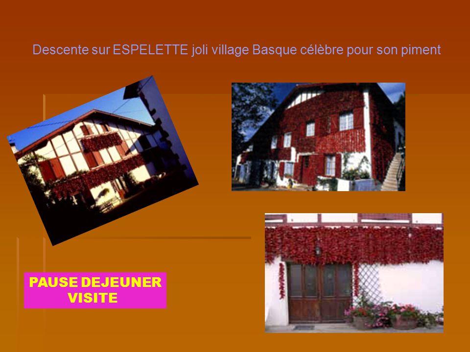 Descente sur ESPELETTE joli village Basque célèbre pour son piment