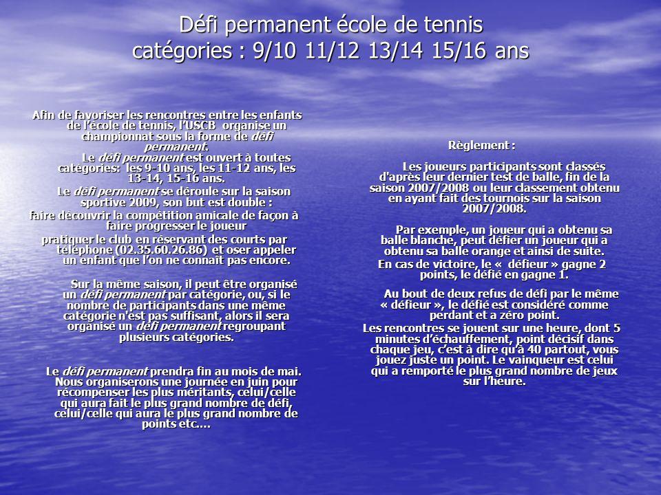 Défi permanent école de tennis catégories : 9/10 11/12 13/14 15/16 ans