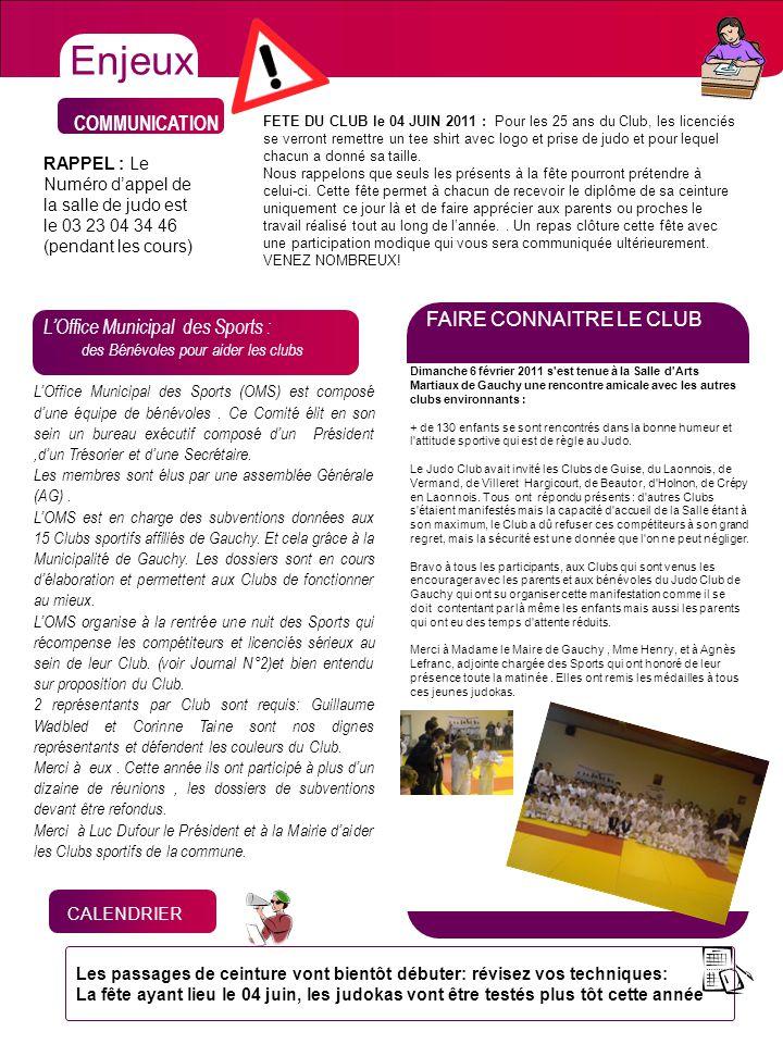 Enjeux CHIFFRES COMMUNICATION FAIRE CONNAITRE LE CLUB