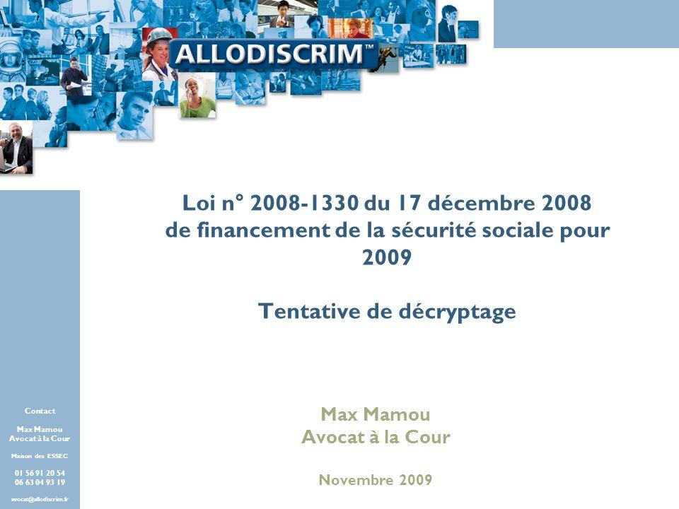 de financement de la sécurité sociale pour 2009