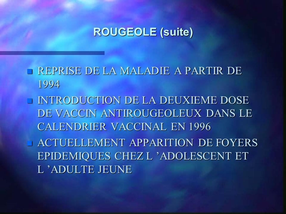 ROUGEOLE (suite) REPRISE DE LA MALADIE A PARTIR DE 1994.