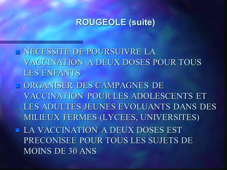 ROUGEOLE (suite) NECESSITE DE POURSUIVRE LA VACCINATION A DEUX DOSES POUR TOUS LES ENFANTS.