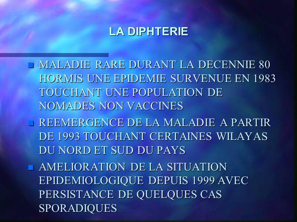 LA DIPHTERIE MALADIE RARE DURANT LA DECENNIE 80 HORMIS UNE EPIDEMIE SURVENUE EN 1983 TOUCHANT UNE POPULATION DE NOMADES NON VACCINES.