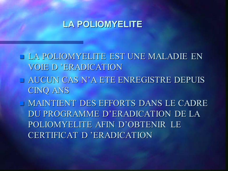 LA POLIOMYELITE LA POLIOMYELITE EST UNE MALADIE EN VOIE D 'ERADICATION. AUCUN CAS N'A ETE ENREGISTRE DEPUIS CINQ ANS.