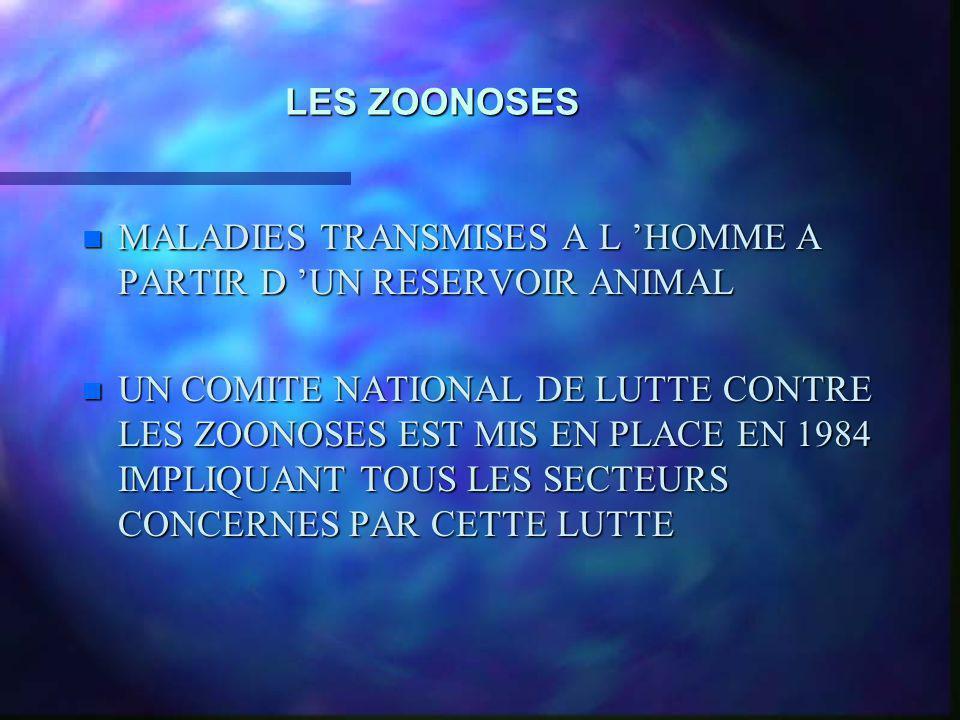 LES ZOONOSES MALADIES TRANSMISES A L 'HOMME A PARTIR D 'UN RESERVOIR ANIMAL.