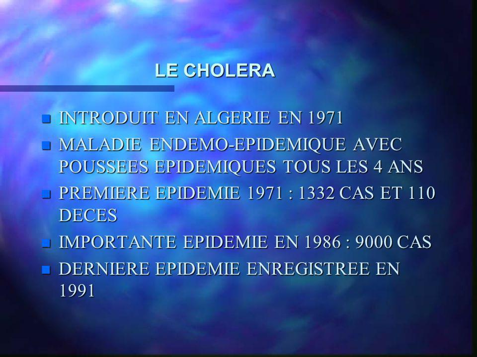 LE CHOLERA INTRODUIT EN ALGERIE EN 1971. MALADIE ENDEMO-EPIDEMIQUE AVEC POUSSEES EPIDEMIQUES TOUS LES 4 ANS.