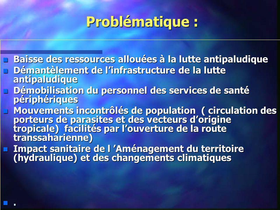 Problématique : Baisse des ressources allouées à la lutte antipaludique. Démantèlement de l'infrastructure de la lutte antipaludique.