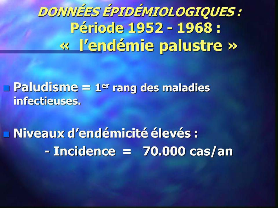 DONNÉES ÉPIDÉMIOLOGIQUES : Période 1952 - 1968 : « l'endémie palustre »