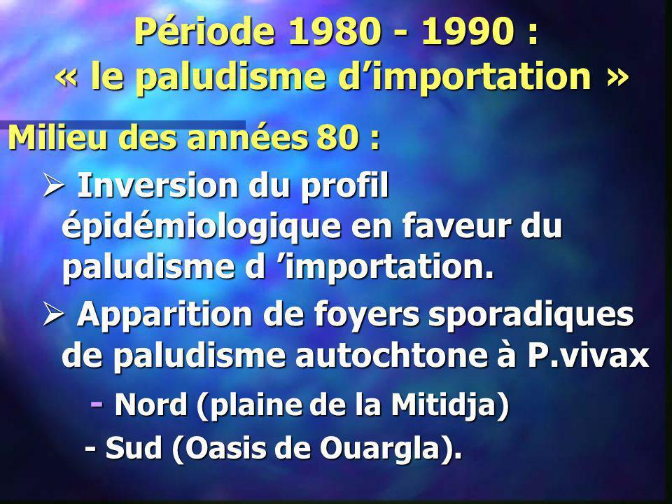 Période 1980 - 1990 : « le paludisme d'importation »