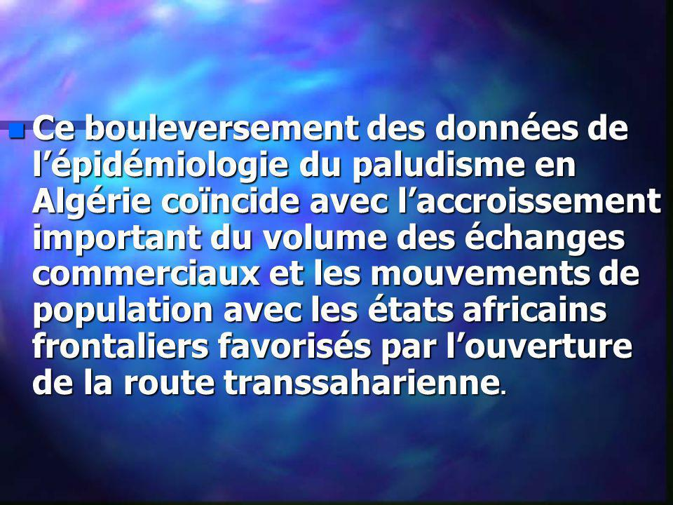 Ce bouleversement des données de l'épidémiologie du paludisme en Algérie coïncide avec l'accroissement important du volume des échanges commerciaux et les mouvements de population avec les états africains frontaliers favorisés par l'ouverture de la route transsaharienne.