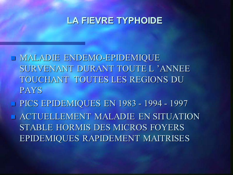 LA FIEVRE TYPHOIDE MALADIE ENDEMO-EPIDEMIQUE SURVENANT DURANT TOUTE L 'ANNEE TOUCHANT TOUTES LES REGIONS DU PAYS.