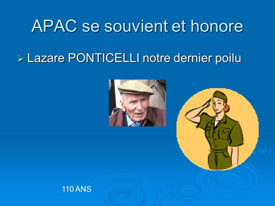 APAC se souvient et honore