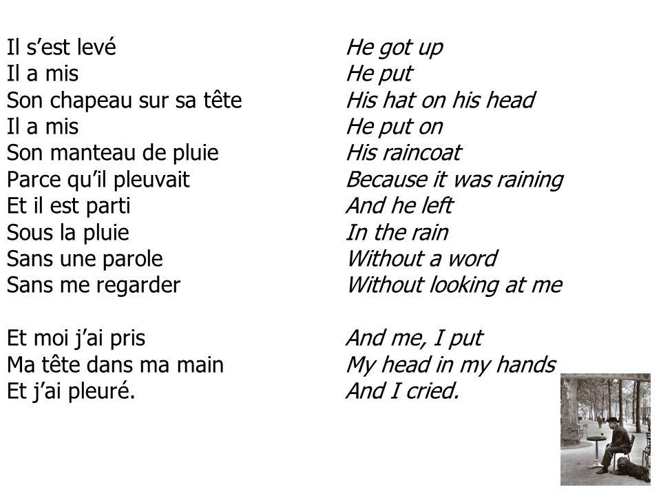 Il s'est levé Il a mis Son chapeau sur sa tête Il a mis Son manteau de pluie Parce qu'il pleuvait Et il est parti Sous la pluie Sans une parole Sans me regarder